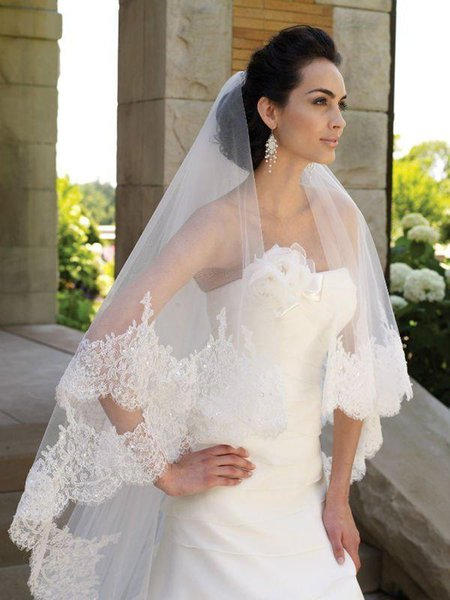 Cathedral Cut 3 Meters 2T Long Wide Lace Purfle Beads Bridal Veils Tulle Wedding Veil Custom Bridal Veils Mantilla+Comb V716