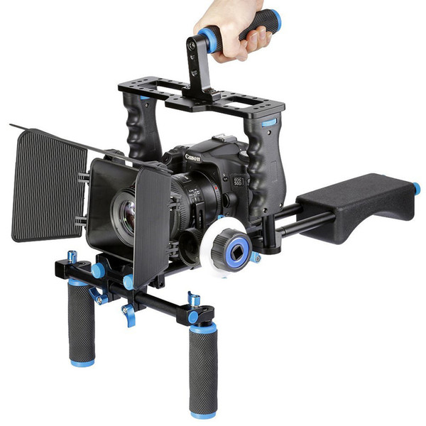 Freeshiping Professional DSLR Rig Shoulder Video Camera Stabilizer Support Cage/Matte Box/Follow Focus For Canon Nikon Sony Camera Camcorder