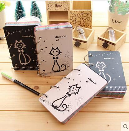 Kawaii Cartoon Hollowed Out Cat Cover Coil Notebook Diary Notepad Stationery Student Logbook 9.4*16cm 250Pages School Supplies