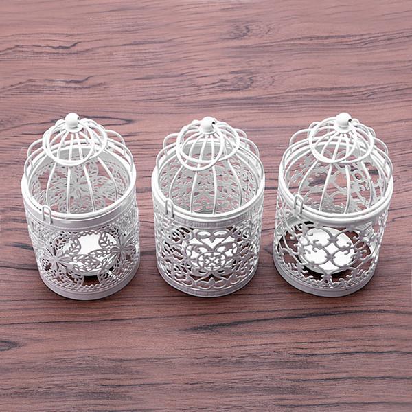 Creative candelabros Hollow Hanging Bird Cage Candle Holder Candlestick Lantern Bridal Decor Vintage Candlesticks Home Decor