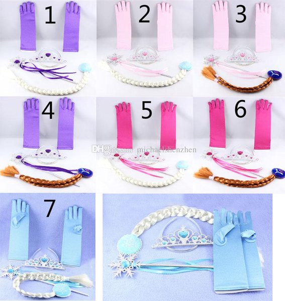 7 color Girls Fever snowflake Crown +Magic Wand+wig+ gloves 4 pcs suit 2015 new children princess suit B
