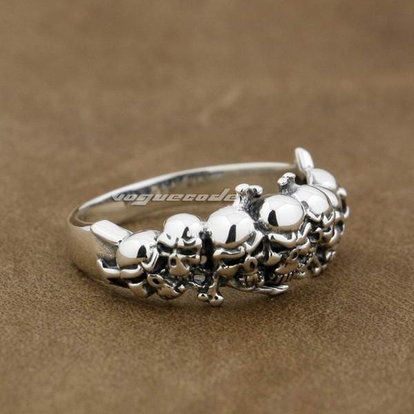 925 Sterling Silver Skull Mens Biker Rocker Punk Ring 8Y013A US Size 7.25~11 Free Shipping