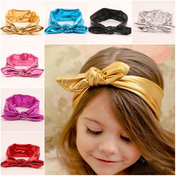 7colors Shiny leather bow headband BabyToddler Headband Kids Hair Accessories elastic metal color head wraps turban bands bPhotography Props