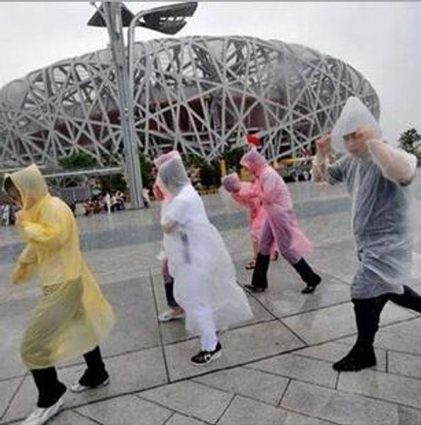 Plastic One-time Raincoat Fashion Hot Disposable PE Raincoats Poncho Rainwear Travel Rain Coat Rain Wear 2000PCS HK28