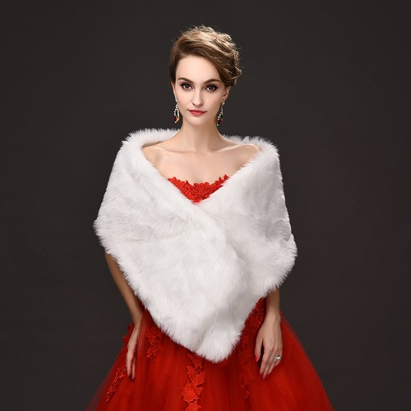 Jane Vini 2018 Winter Faux Fur Wraps and Shawls For Wedding White Bridal Warm Women Fake Fur Girls Long Boleros Jacket Stoles Capes