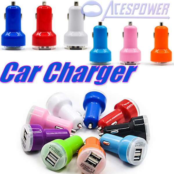 For Iphone7 Car Chargers S9 Plus Micro Auto Dual 2 Port USB IPhone IPad IPod 2.1A Mini Car Charger Adapter Cigar Socket