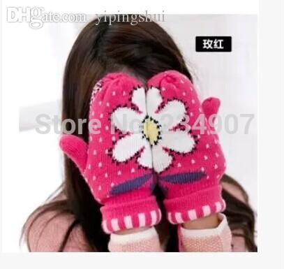 Wholesale-2015 new girls thick warm gloves / double warm gloves / free shipping / Sunflower Ladies Gloves