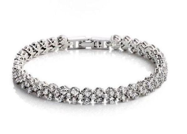 Bijoux fantaisie de luxe Bracelet en argent 925 avec zircon cubique pour femme cadeau