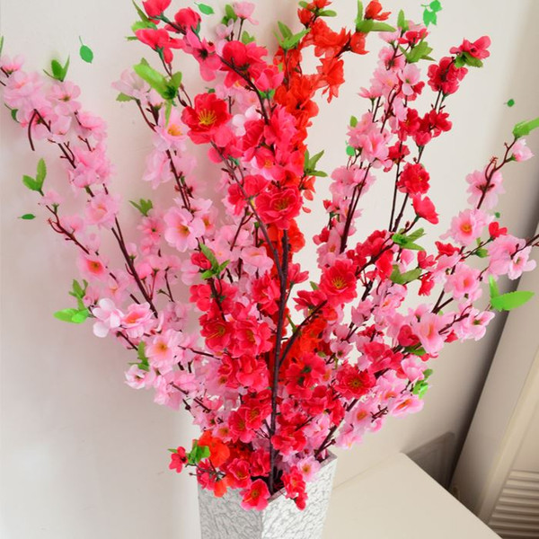 Wholesale 10Pcs/lot 65cm Artificial Branches Of Peach Cherry Blossom Silk Flowers Home Wedding Decoration Flower