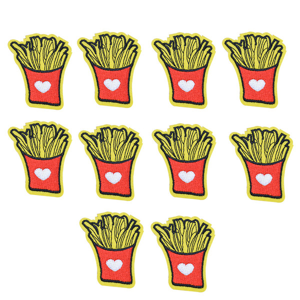 10PCS Love Chips Embroidery Patches for Clothing Bags DIY Iron on Transfer Applique Patch for Garment Sew on Embroidery Badge