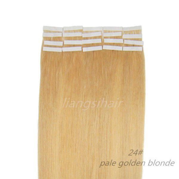 "18""-26"" 20pcs/set 24# Pale Golden Blonde 1 Set Straight Tape Skin Weft Brazilian Indian Malaysian Peruvian Virgin Remy Human Hair Extension"