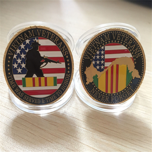 best selling 1pcs lot free shipping United States Military Vietnam Veterans 24K Gold Plated Challenge coin Medal