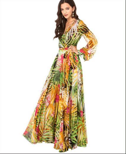 3d0a52eb8775f Satın Al Avrupa Ve Amerika Yeni Moda Baskı Taze Kadınlar Şifon ...