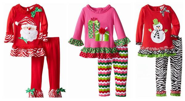 Sıcak erkek bebek noel kostüm çocuklar uzun kollu Noel Baba üst + çizgili pantolon 2 adet set bebek boys pamuk noel giysileri 4 stil en kaliteli