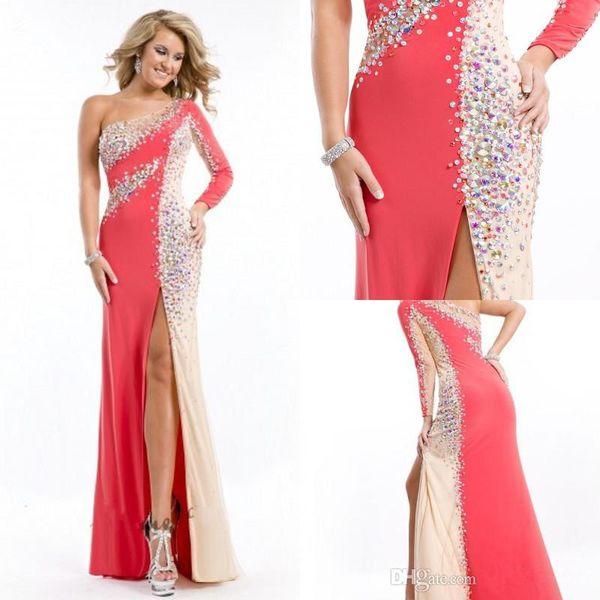 2015 Elegant Rhinestones One Shoulder Long Sleeve Coral Prom Dresses ...