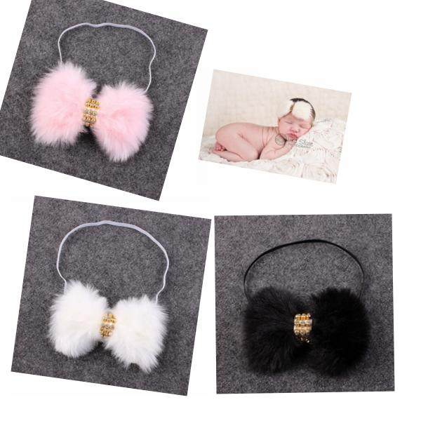 10pcs New Baby Rabbit Fur bow Headband for Infant Girl Hair Accessories Elegant FUR bows clip hair band Newborn Photography Prop YM6105