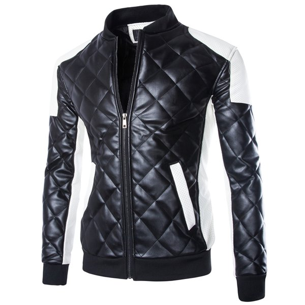 Free shipping hot sale New Fashion Mens Outerwear & coat Jackets Stand collar Zippered PU JACKET Men's Clothing