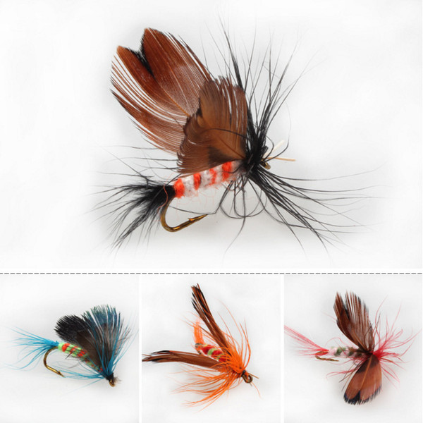 Fast free Shipping via DHL Fly Fishing Flies Trout Bass Fly Fishing Lure Baits with Hook Fishing Lures 12pc/set