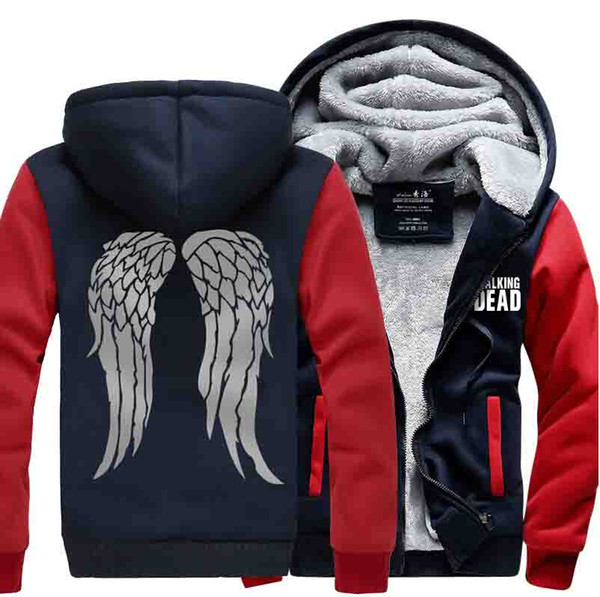 The Walking Dead Hoodie Casual Thick Zipper Men's Jacket Thickening Plus Velvet Cardigan Free Shipping