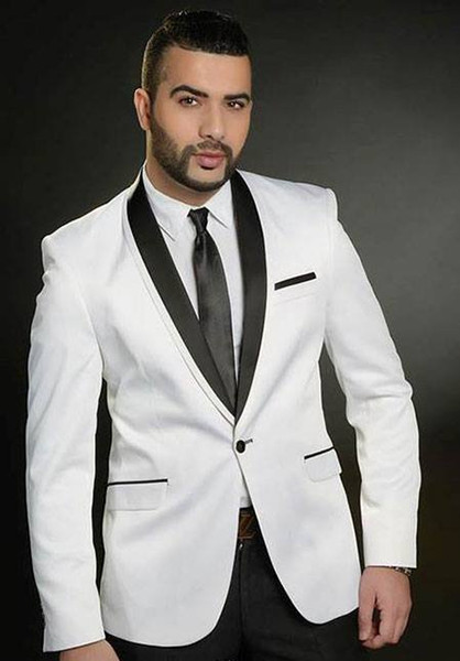 Handsome White Wedding Tuxedos Slim Fit Suits For Men Groomsmen Suit Two Pieces Black Peaked Lapel Formal Suits(Jacket+Pants+Tie)