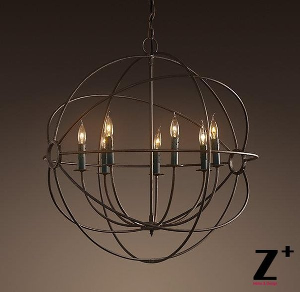 Replica item Industrial Diam 80cm 7 lights 1920S FOUCAULT'S ORB CHANDELIER vintage iron globe candle free shipping