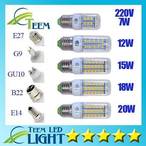 best selling SMD5730 E27 GU10 B22 E14 G9 LED lamp 7W 12W 15W 18W 220V 110V 360 angle SMD LED Bulb Led Corn light 24LED