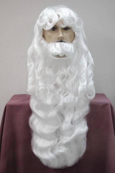 Venta al por mayor envío gratis Salud encantadora abuelo de Navidad Día de Navidad peluca blanca estilo