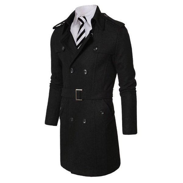New Fashion Men's Winter Jacket Long Mens Coat For Men Wool blend Trench Outerwear free shipping