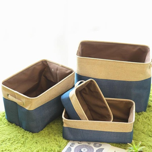 4 pieces/set Home Housekeeping Brief cotton linen foldable Desk storage box fabric Basket household clothes sundries organizer free shipping