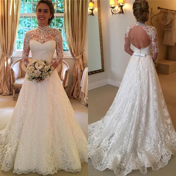 2017 Elegant Lace High Collar Wedding Dresses With Illusion Long Sleeves Vintage Backless Bow Sash Bridal Gowns Custom Made EN10288