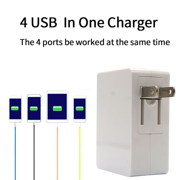 4.8A 24W High Speed 4 Port USB Wall Charger Portable Travel Charger Power Adapter with Folding Plug for iPhone iPad Android GooPhone