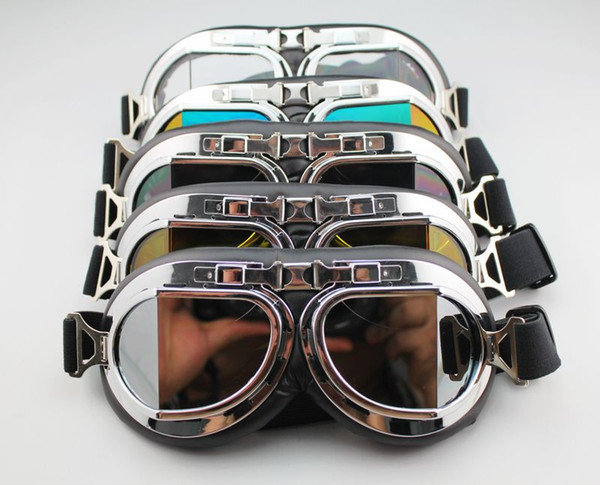 Aviator Pilot Cruiser Motorcycle Scooter ATV Goggle Eyewear T08H Five Lens Clear Smoke Colorful silver Yellow availble DHL free