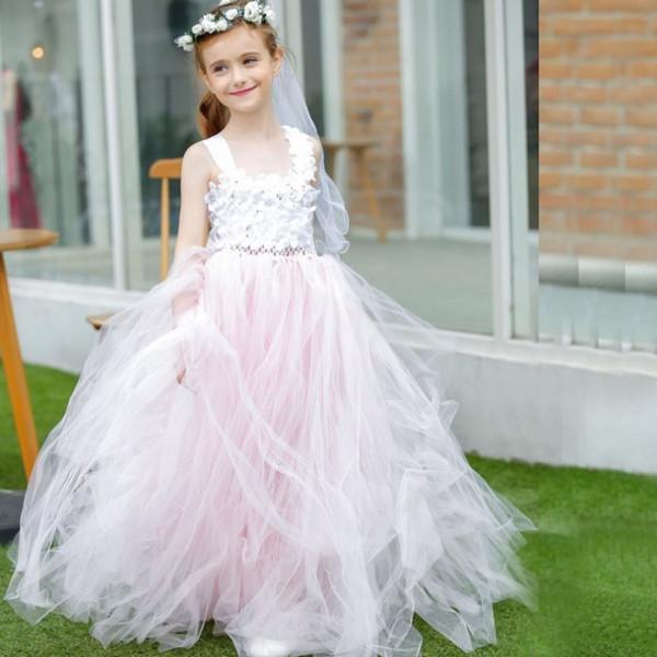 Großhandel Romantische 2018 Blass Rosa Tüll Prinzessin Blume Mädchen ...