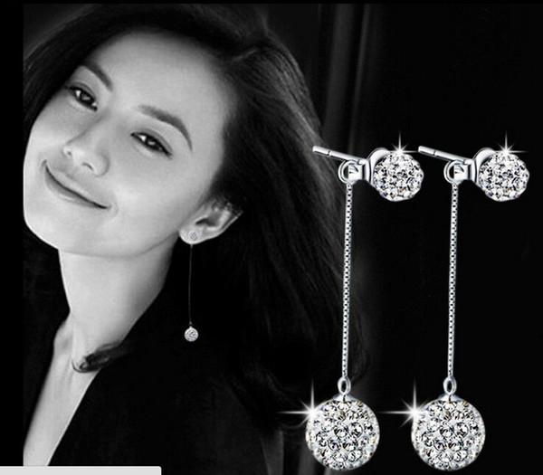 Yüksek kalite 925 ayar gümüş takı çift top rhinestone püskül gümüş dangle küpe kadınlar güzel takı için