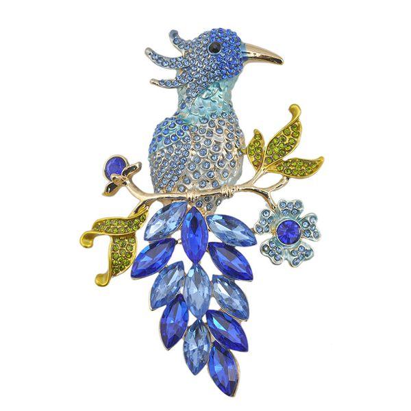 Broche de pássaro 2016 Presente para As Crianças 14 K Banhado A Ouro Colorido Strass Parakeet Enamel Broche 97x65mm (1 pc)
