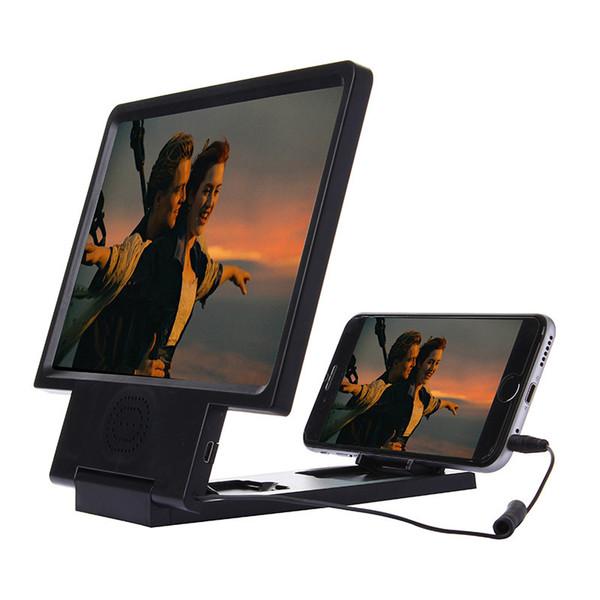 Yükseltilmiş Büyütülmüş Ekran 3D Video Amplifikatör Gözler Ekran Büyütülmesi Hoparlör ile Cep telefonu Standı ile Paketi ile 100 adet / grup Ücretsiz Kargo