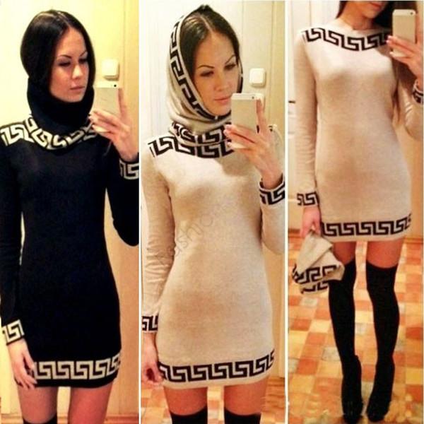 Venta al por mayor-Dama Vestido elegante de las mujeres ocasionales Nueva moda de manga larga lápiz vendaje O-cuello Sexy invierno suéter Mini vestidos 29