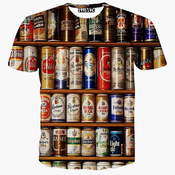 Wholesale-2016 Newest fashion men/women harajuku t shirt print funny Cat/Hulk/beauty/beer/skull Cartoon 3d animal t shirt tops plus size