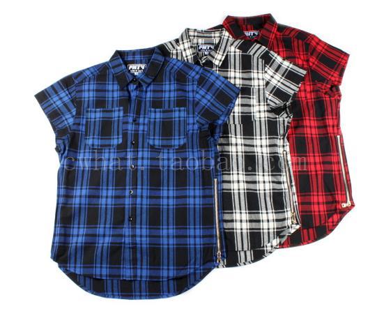 Wholesale-side zipper hip hop swag tyga kanye west men short sleeve plaid shirts streetwear best quality plus size Camisas Masculinas