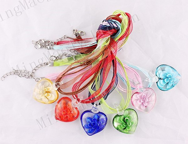 wholesale 6pcs handmade mix color Italian venetian 3D Transparent Heart Flower Lampwork murano glass pendant 3+1 silk necklaces