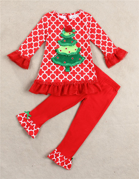 2017 Baby Girl Christmas Sets Christmas Pajamas Suits T Shirt Pant ...