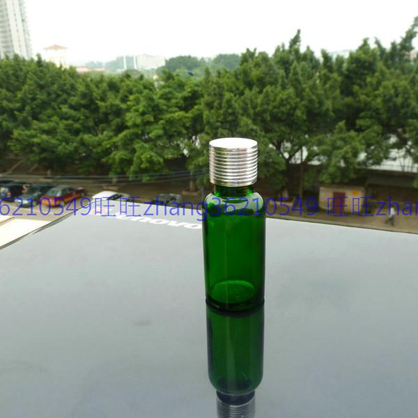 Бутылка эфирного масла зеленого стекла 20мл с сияющей серебряной алюминиевой крышкой. Пробирка масла, контейнер эфирного масла