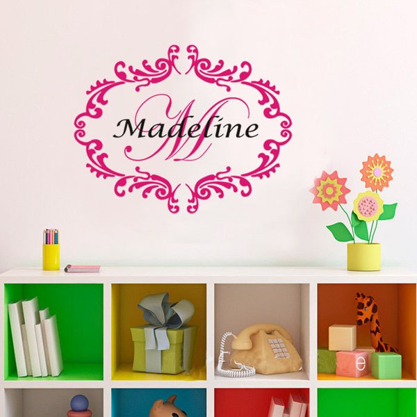Custom Made Personalized Baby Girl Monogram Custom Name Wall Decal Name Nursery Damask Vinyl Sticker For Kids Rooms Tree Wall Stickers For Bedrooms