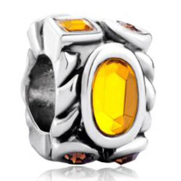 Fashion women jewelry European topaz yellow birthstone crystal metal bead loose charms fits Pandora charm bracelet