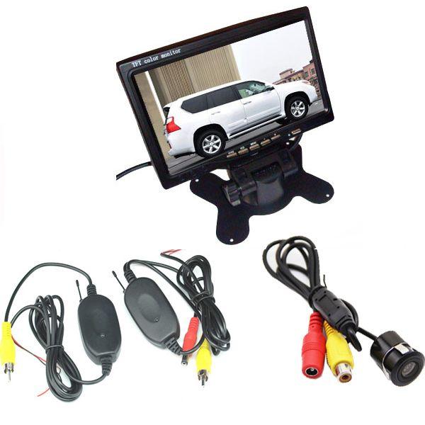 "Wireless Car Rear View Kit Mini CCD Waterproof Reverse Parking Camera Wide Angle + 7"" LCD Monitor"