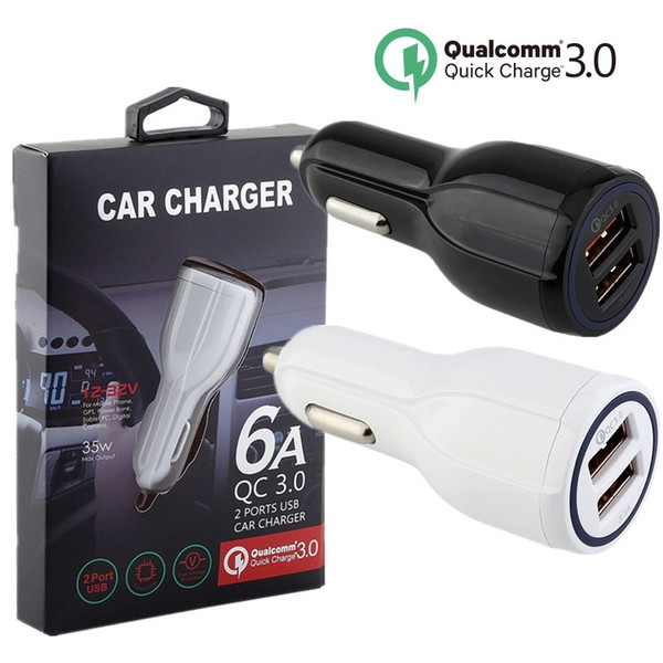 Caricabatteria da auto Per Samsung s7 s8 note 8 Dual porte USB Bianco Nero QC 3.0 caricabatteria da auto per iphone ipad con scatola al minuto + cavo