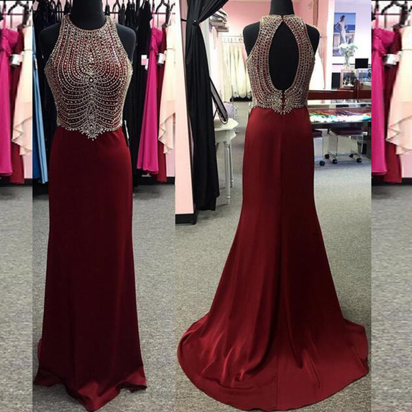 Luxury Evening Dress Sheath Jewel Neck Sleeveless Beading Crystals Beaded Top Cut Out Open Back Long Formal Prom Party Gowns Sweep Train