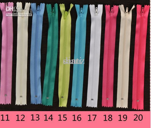 40 X Color sewing zipper vintage Nylon Coil Zippers Tailor Sewer Craft 9 Inch Crafter's DIY Special