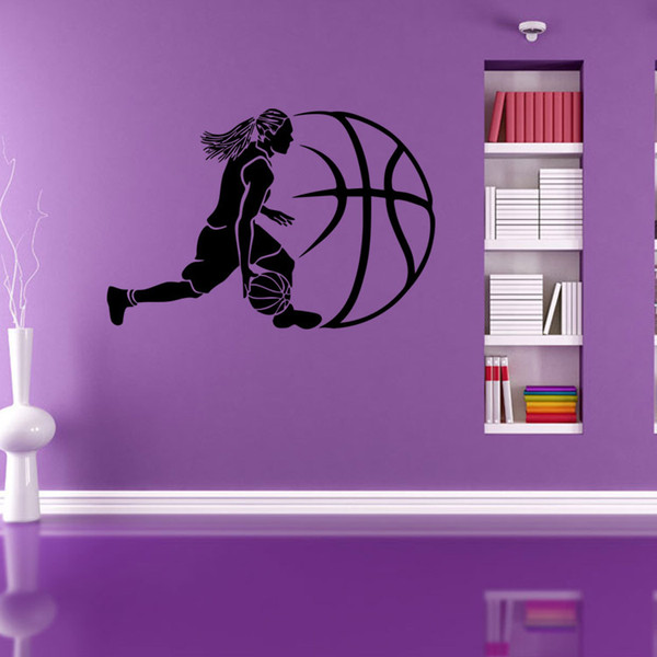 Black Abstract Basketball Player And Ball Wall Art Mural Decor Diy
