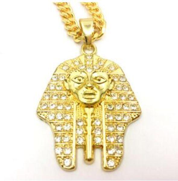 14K Gold Egyptian Pharaoh water diamond pendant hip-hop trend men and women necklace